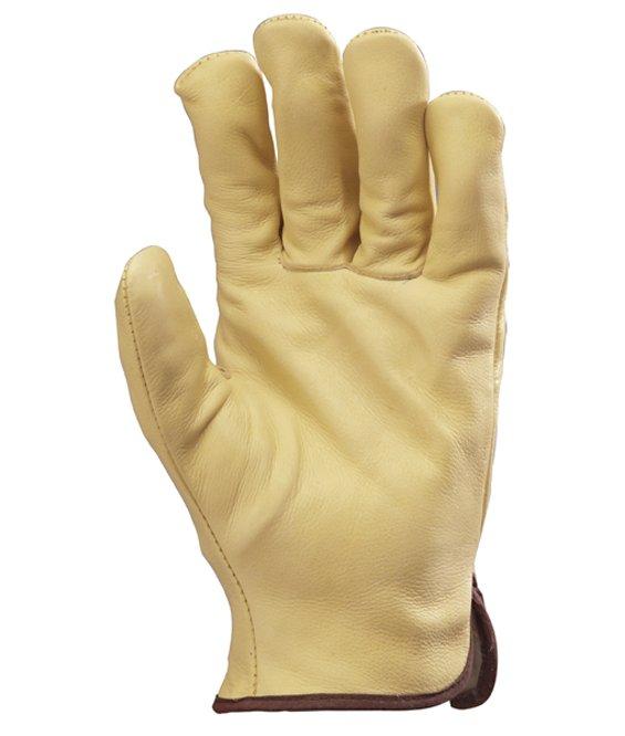 vendite calde pacchetto alla moda e attraente prezzo abbordabile Guanti imbottiti palmo in pelle fiore bovino colore giallo
