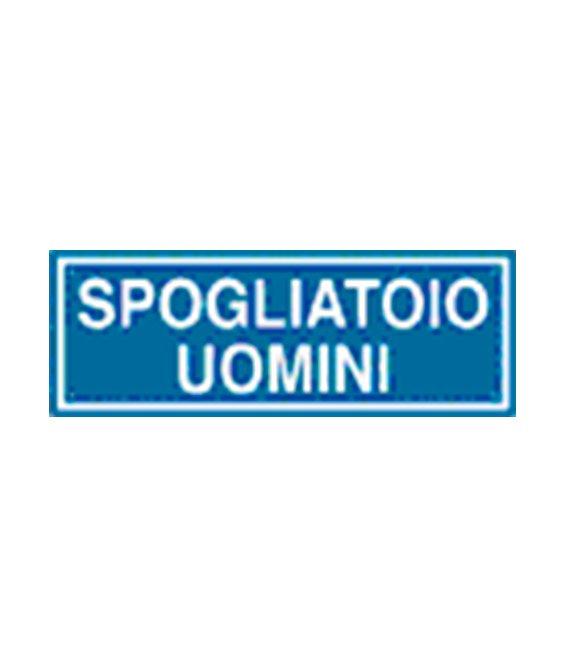 Adesivo segnaletica SPOGLIATOIO UOMINI 165x50 mm.