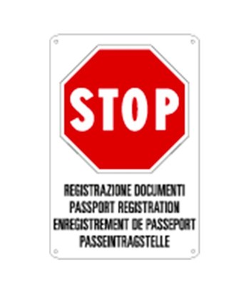Cartello multilingue 'stop registrazione documenti'